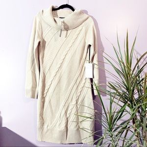 TAHARI | Ivory Cowl Neck Sweater Dress